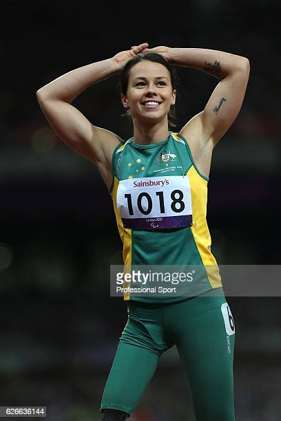 Silver medallist Kelly Cartwright of Australia following the Women's 100m T42 Final on day 7 of the London 2012 Paralympic Games at Olympic Stadium...