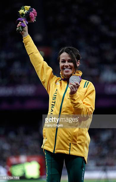 Silver medallist Kelly Cartwright of Australia poses on the podium during the medal ceremony for the Women's 100m T42 Final on day 7 of the London...