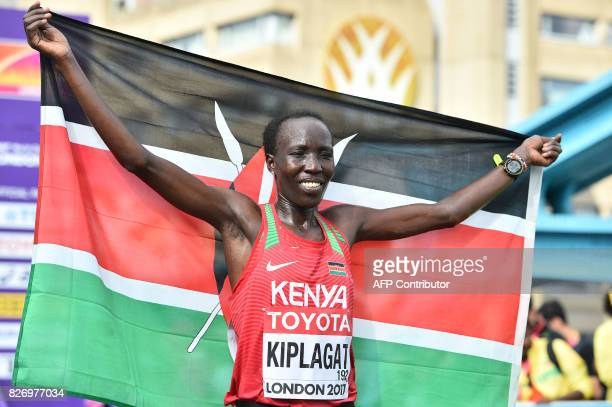 Silver medallist Kenya's Edna Ngeringwony Kiplagat poses after the women's marathon athletics event at the 2017 IAAF World Championships in central...