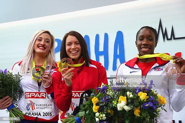 Silver medallist Lucy Hatton of Great Britain Northern Ireland gold medallist Alina Talay of Belarus and bronze medallist Serita Solomon of Great...