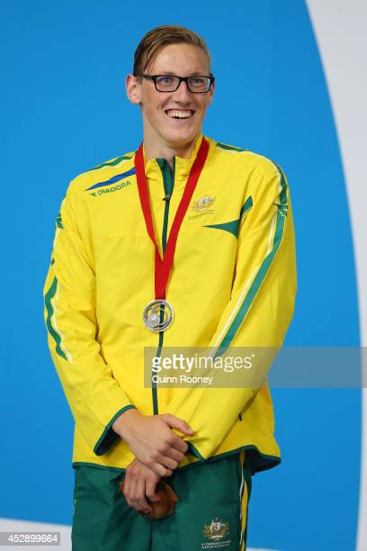 Silver medallist Mack Horton of Australia poses during the medal ceremony for the Men's 1500m Freestyle Final at Tollcross International Swimming...