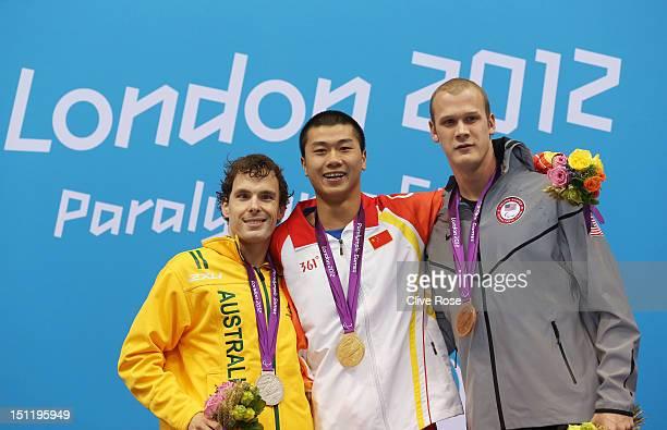 Silver medallist Matthew Levy of Australia gold medallist Shiyun Pan of China and bronze medallist Lantz Lamback of the United States pose on the...