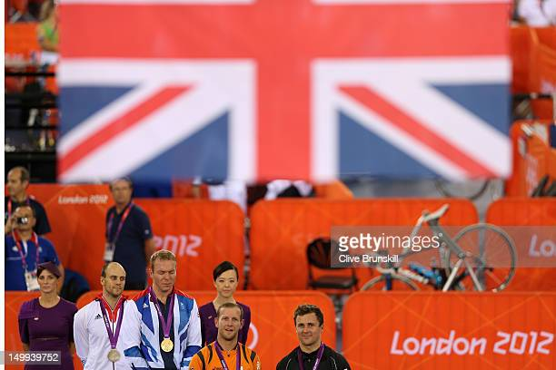 Silver medallist Maximilian Levy of Germany, Gold medallist Sir Chris Hoy of Great Britain, and joint Bronze medallists Teun Mulder of the...
