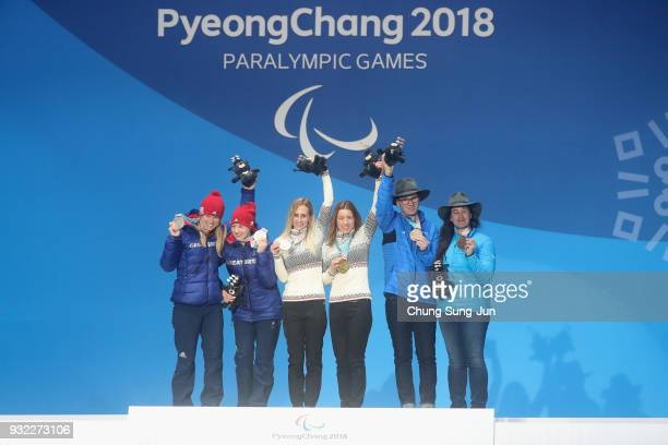 Silver medallist Menna Fitzpatrick of Great Britain and her guide Jennifer Kehoe Gold medallist Henrieta Farkasova of Slovakia and her guide Natalia...