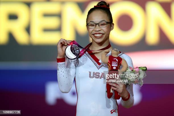 Silver medallist Morgan Hurd from the US poses for a picture with her medal after the Floor Exercise final during the 2018 FIG Artistic Gymnastics...