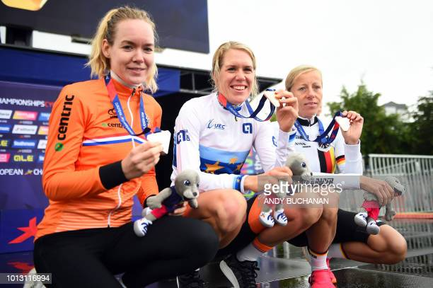 Silver medallist Netherlands' Anna Ven Der Breggen gold medallist Netherlands' Ellen Van Dijk and bronze medallist Germany's Trixi Worrack pose on...