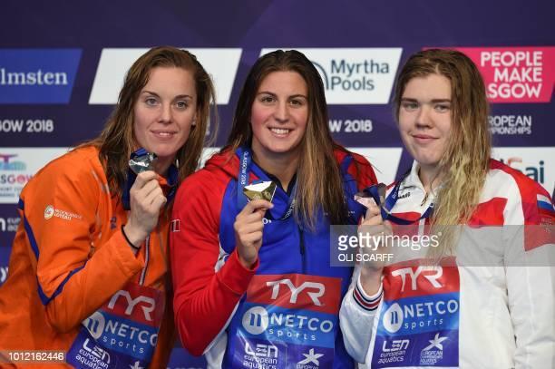 Silver medallist Netherlands' Frederike Joha Heemskerk, gold medallist France's Charlotte Bonnet and bronze medallist Russia's Anastasia Guzhenkova...