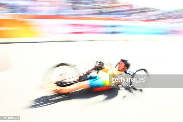 Silver medallist Nic Beveridge of Australia finshes the bike leg in transition during the Men's PWTC Triathlon on day three of the Gold Coast 2018...