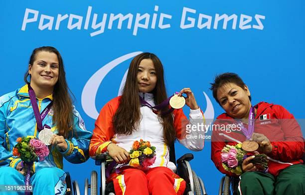 Silver medallist Olga Sviderska of Ukraine gold medallist Jiangbo Xia of China and bronze medallist Patricia Valle of Mexico pose on the podium...