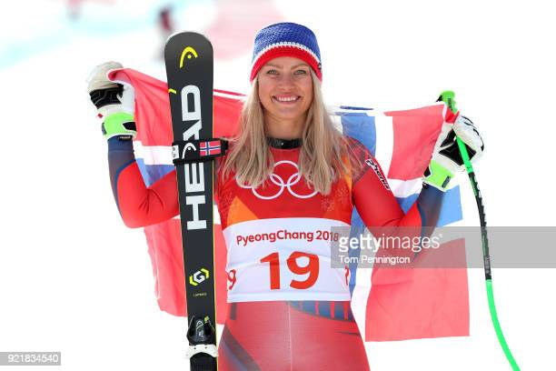 Silver medallist Ragnhild Mowinckel of Norway celebrates during the victory ceremony for the Ladies' Downhill on day 12 of the PyeongChang 2018...
