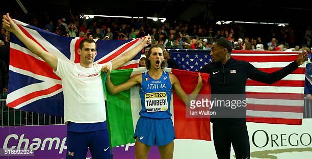 Silver medallist Robert Grabarz of Great Britaingold medallist Gianmarco Tamberi of Italy and bronze medallist Erik Kynard of the United States...