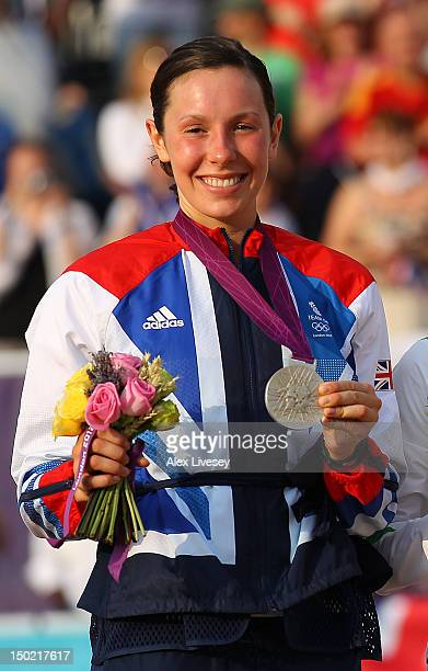 Silver medallist Samantha Murray of Great Britain celebrates during the medal ceremony for the Women's Modern Pentathlon on Day 16 of the London 2012...