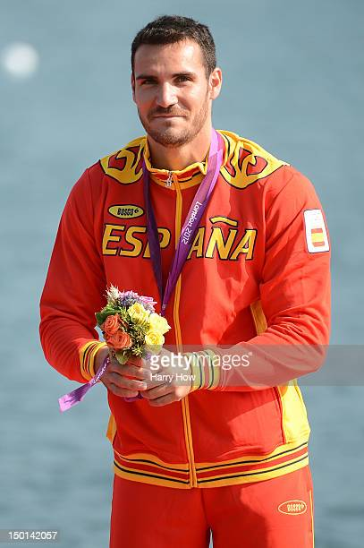 Silver medallist Saul Craviotto Rivero of Spain celebrates during the medal ceremony for the medal ceremony for the Men's Kayak Single 200m Canoe...