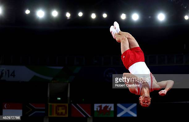 Silver medallist Scott Morgan of Canada competes in the Men's Floor Final during day eight of the Glasgow 2014 Commonwealth Games on July 31 2014 in...