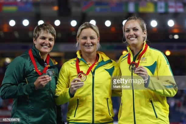 Silver medallist Sunette Viljoen of South Africa, gold medallist Kim Mickle of Australia and bronze medallist Kelsey-lee Roberts of Australia pose on...