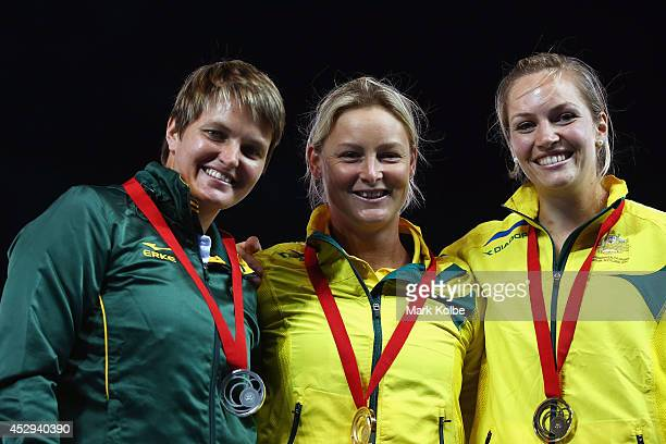 Silver medallist Sunette Viljoen of South Africa gold medallist Kim Mickle of Australia and bronze medallist Kelseylee Roberts of Australia pose on...