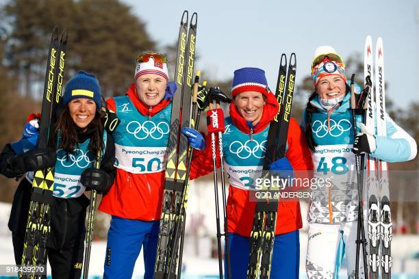 TOPSHOT Silver medallist Sweden's Charlotte Kalla gold medallist Norway's Ragnhild Haga and joint bronze winners Norway's Marit Bjorgen and Finland's...
