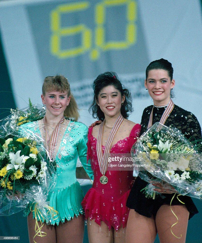 Tonya Harding, Kristi Yamaguchi & Nancy Kerrignan - World Figure Skating Championships : News Photo