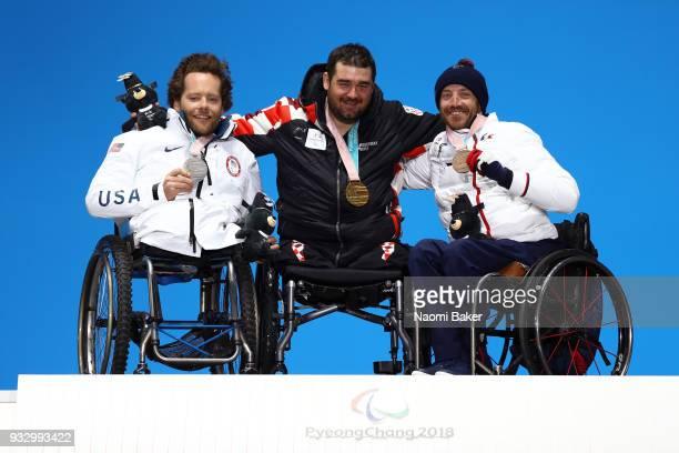 Silver Medallist Tyler Walker of the United States Gold Medallist Dino Sokolovic of Croatia and Bronze Medallist Frederic Francois of France...