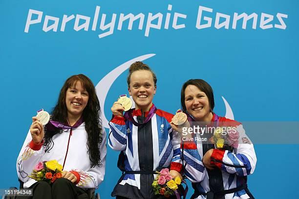 Silver medallist Verena Schott of Germany gold medallist Eleanor Simmonds of Great Britain and bronze medallist Natalie Jones of Great Britain pose...