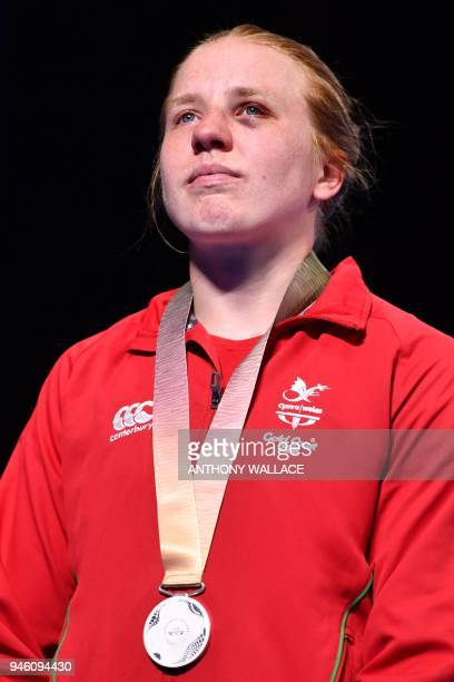 Silver medallist Wales' Rosie Eccles reacts during the medal ceremony for the women's 69kg boxing event during the 2018 Gold Coast Commonwealth Games...