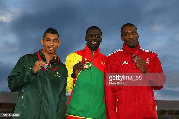 Silver medallist Wayde van Niekerk of South Africa gold medallist Kirani James of Grenada and bronze medallist Lalonde Gordon of Trinidad and Tobago...