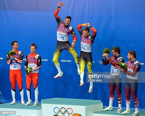 Silver Medallists Austria's Andreas Linger and Wolfgang Linger Gold Medallists Germany's Tobias Arlt and Tobias Wendl and Bronze Medallists Latvia's...