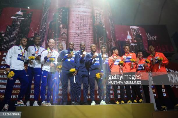 Silver medallists Britain's Adam Gemili, Zharnel Hughes, Richard Kilty and Nethaneel Mitchell-Blake, gold medallists USA's Christian Coleman, Justin...