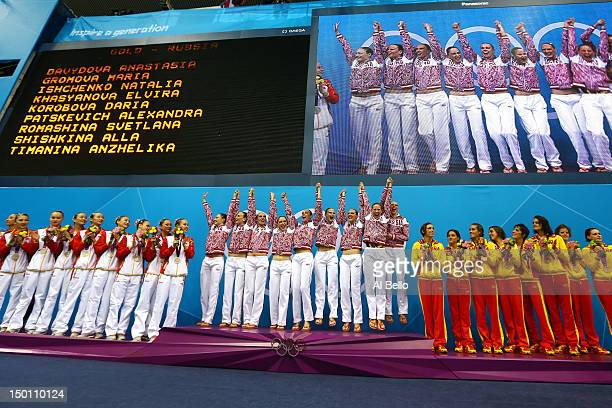 Silver medallists China gold medallists Russia and bronze medallists Spain pose on the podium during the medal ceremony for the Women's Teams...