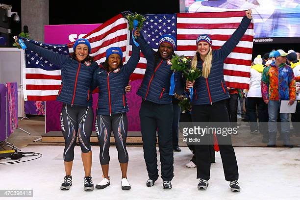 Silver medallists Elana Meyers and Lauryn Williams of the United States team 1 pose with bronze medallists Jamie Greubel and Aja Evans of the United...