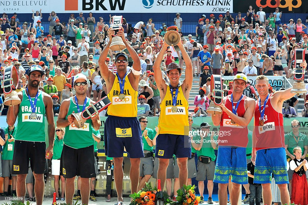 Silver medallists from Brazil Pedro Solberg and Bruno Schmidt, gold medallists from Brazil Ricardo Santos and Alvaro Filho, bronze medallists from USA Jacob Gibb and Casey Patterson pose after the FIVB Gstaad Grand Slam on July 14, 2013 in Gstaad, Switzerland.