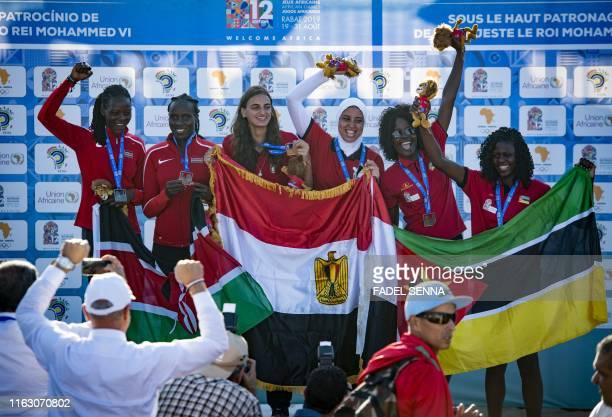 Silver medallists Kenya's Makokha and Too Gold medallists Egypt's Elaskalany and Elghobashy and bronze medallists Mozambique's Moiane and Mucheza...