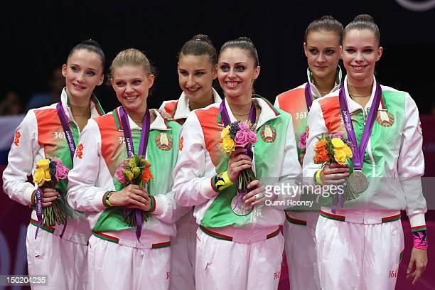 Silver medallists Maryna Hancharova Anastasiya Ivankova Nataliya Leshchyk Alina Tumilovich Kseniya Sankovich and Aliaksandra Narkevich of Belarus...