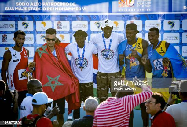 Silver medallists Morocco's Abicha and El Graoui Gold medallists Gambia's Jawo and Mbye and bronze medallists Rwanda's Akumuntu Kavalo and Ntagengwa...