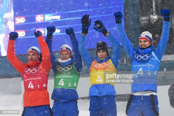 Silver medallists Norway's Jan Schmid Norway's Espen Andersen Norway's Jarl Magnus Riiber and Norway's Joergen Graabak celebrate on the podium during...