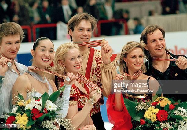 Silver Medallists Oleg Ovsyannikov and Anjelika Krylova of Russia Gold Medallists Oksana Grishuk and Evgeni Platov of Russia and Bronze Medallists...