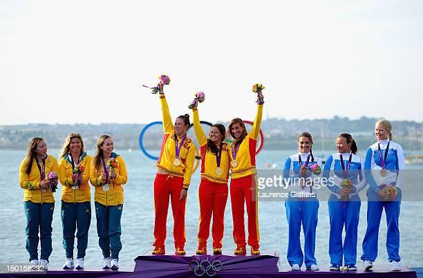 Silver medallists Olivia Price Nina Curtis and Lucinda Whitty of Australia gold medallists Tamara Echegoyen Dominguez Sofia Toro Prieto Puga and...