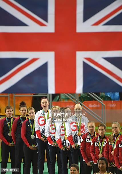 Silver medallists USA's Kelly Catlin USA's Chloe Dygert and USA's Jennifer Valente gold medallists Britain's Katie Archibald Britain's Laura Trott...