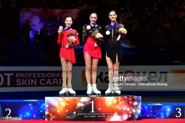 Silver medlist ElizabetTursynbaeva of Kazakhstan gold medalist AlinaZagitova of Russia and bronze medalist EvgeniaMedvedeva of Russia pose on the...
