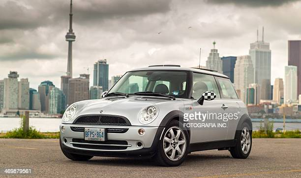 silver mini cooper in toronto - mini cooper stock pictures, royalty-free photos & images