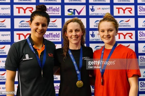 Silver mmedalist Aimee Willmott of London Aquatic gold medalist Hannah Miley of Aberdeen Per and bronze medalist Abbie Wood of Loughboro Uni pose...