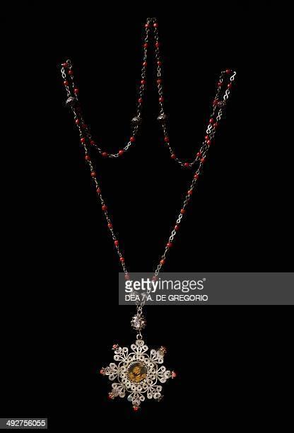Silver necklace with decorative filigree and coral Sardinia Italy Nuoro Museo Della Vita E Delle Tradizioni Popolari Sarde