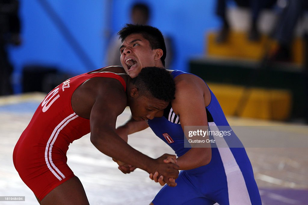 Silver Nilton Soto of Peru in the podium of 69kg greco Roman as part of the I ODESUR South American Youth Games at Polideportivo Villa Deportiva del Callao on September 26, 2013 in Lima, Peru.