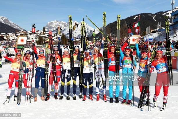 Silver Noway Gold Sweden and Bronze Russia celebrate during the Women's 4x5km Cross Country Relay at the FIS Nordic World Ski Championships on...