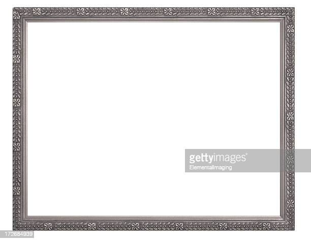 Silver or Pewter Rectangular Picture Frame.  Isolated with Clipping Path