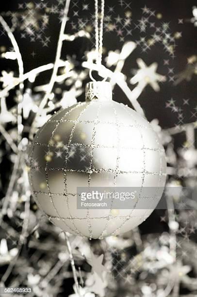 Black And Silver Christmas Ornaments Stock Fotos Und Bilder