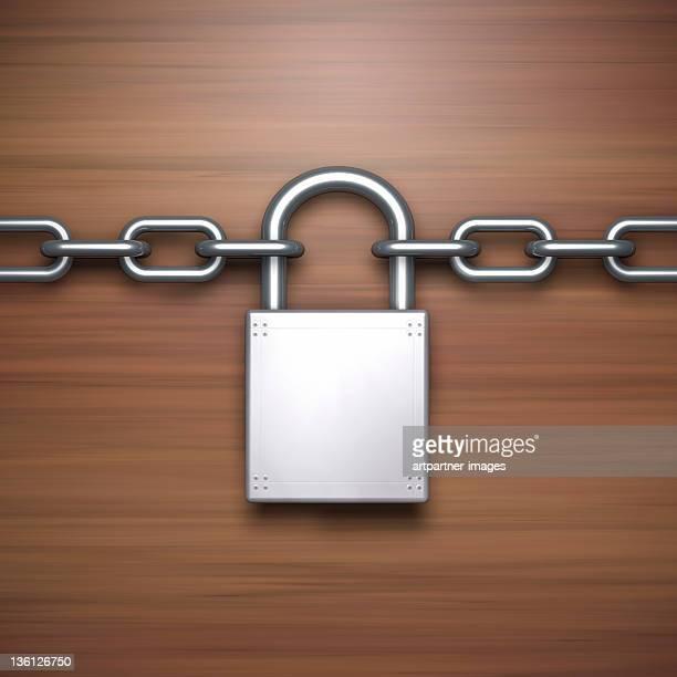 Silver Padlock on a Steel Chain