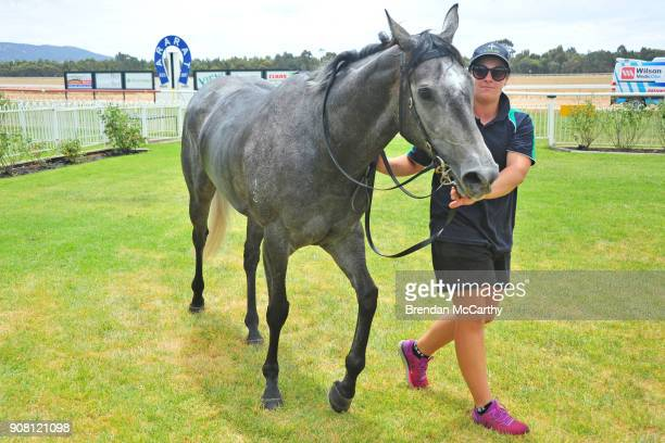 Silver Pathfinder and strapper Danielle Goodwin after winning the Homemade Café Beaufort FM BM58 Handicap at Ararat Racecourse on January 21 2018 in...
