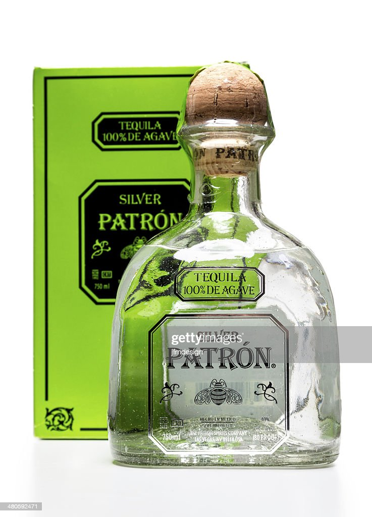 Silver Patron Tequila bottle and box : Stock Photo