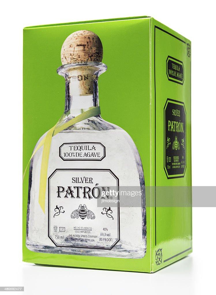 Silver Patron Tequila box : Stock Photo